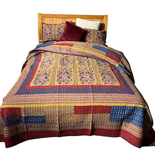 Bling Reversible Quilt Set - 2 Almohada Acolchada Shams y un cobertor Suave algodón - algodón de Relleno Ligero y Transpirable - Lavable a máquina