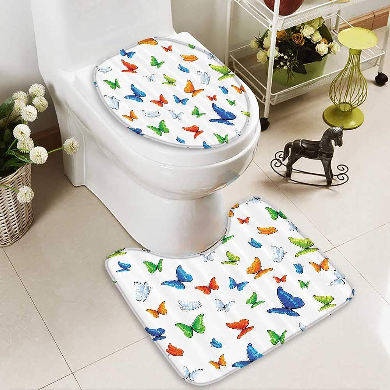 Muyindo Bathroom Non-Slip Floor Mat Butterflies Animal Clipart Ecology Envirment Joyful Carto Trop with High Absorbency