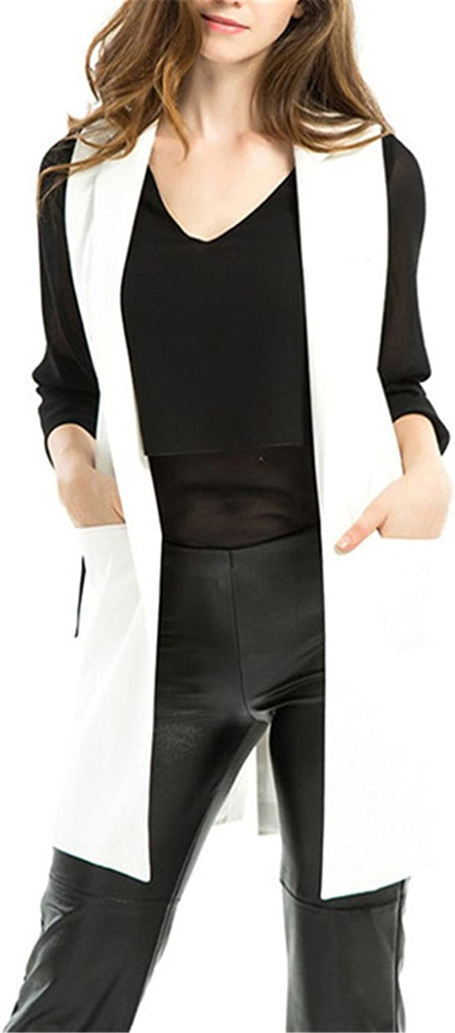 Hoared New Loose Long Women Vest Spring Solid Suit Collar Business Attire Vests