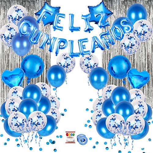 Set de decoración 80 piezas AZUL, con pancarta de letras inflables FELIZ CUMPLEAÑOS en español, globos de latex rellenos de confeti, estrellas y corazones, cinta para globos, y adhesivo