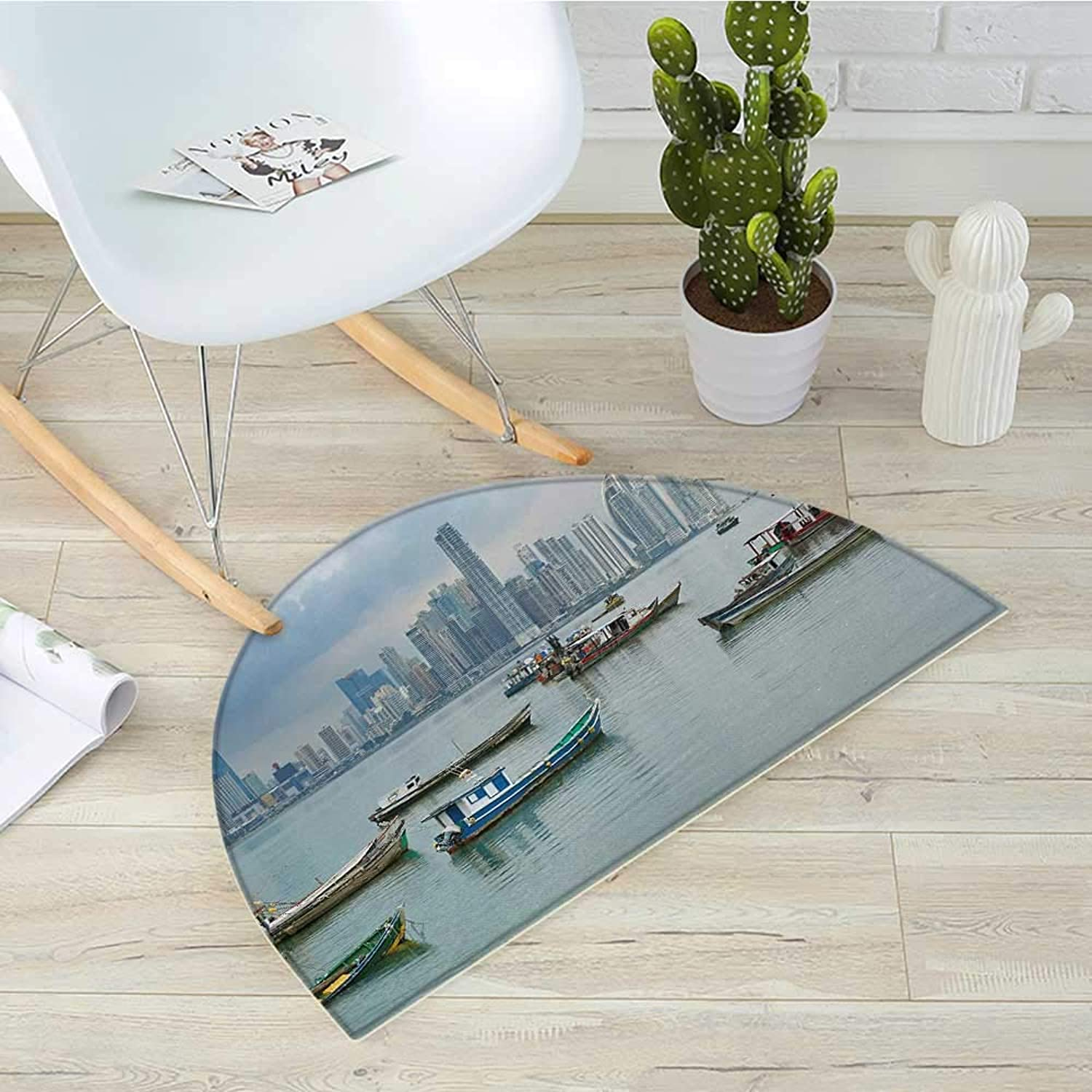 Landscape Half Round Door mats Anchored Fishing Boats Skyscrapers Panama Cityscape Pacific Coast Central America Bathroom Mat H 39.3  xD 59  Multicolor