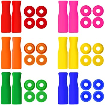 12-Pack Silicone Tips Reusable Straw Tips Multicolored Stainless Steel Straws Cover with 24Pcs Anti-slip Silencers for 1/4'' (6mm) Wide Stainless Steel Drinking Straws