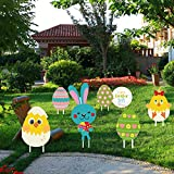 OceanWings 7 Packs Easter Yard Signs Decorations for Yard Lawn Outdoor,Signs with Stakes Bunny Rabbit Easter Eggs Chick for Easter Decor Spring Outdoor Lawn