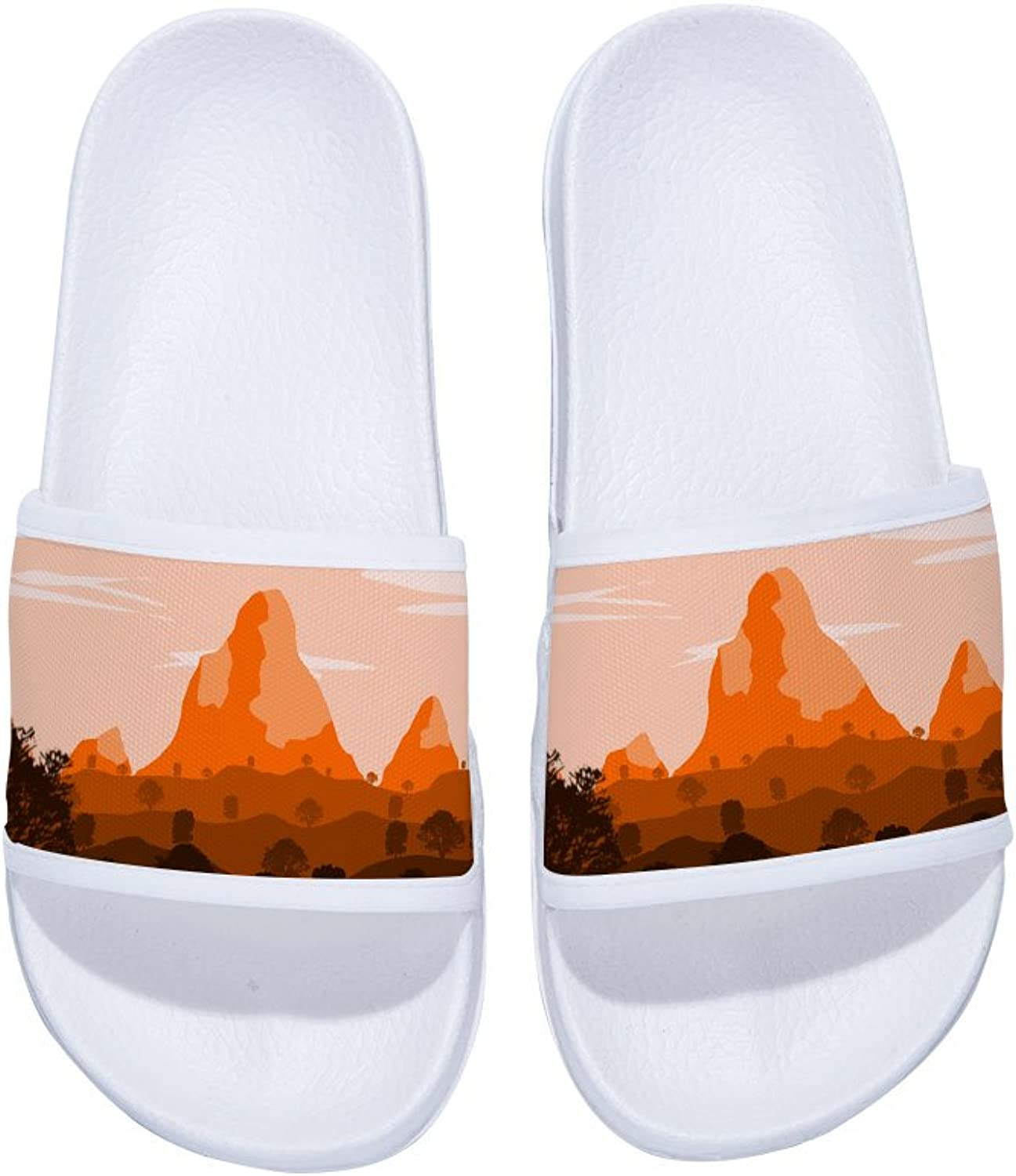 orange Mountain Fashion Pattern Slippers Non-Slip Quick-Drying Slippers for Womens Mens