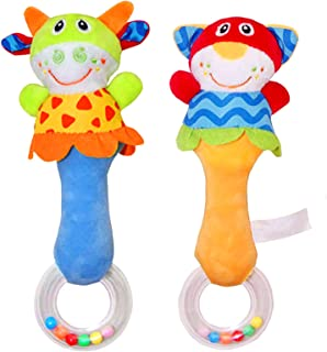CHAFIN Baby Soft Rattles Sound Toys, Infant Handbells Early Development Hand Grip Baby Toys, Cute Stuffed Animal for 3 6 9...