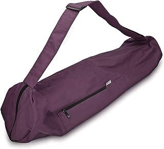 Navaris Bolsa para Esterilla de Yoga de algodón - Bolso para Alfombrilla de Yoga con Cierre y Correa - Funda Grande de 72 x 29 CM - En púrpura