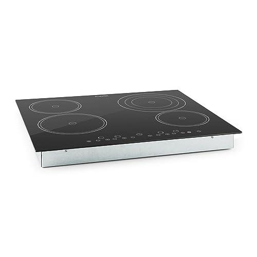 Klarstein Virtuosa Piano Cottura in Vetroceramica 4 Zone (6500 Watt totali, 9 livelli di temperatura regolabili, timer, allarme sonoro, spegnimento automatico)
