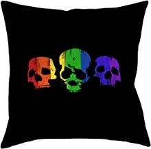 """ArtVerse Katelyn Smith Rainbow Skulls x 14"""" Pillow-Faux Suede Double Sided Print with Concealed Zipper & Insert, 26"""" x 26"""""""