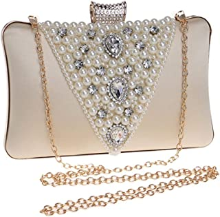 Ladies New Beaded Evening Dress Clutch Pearl Crystal Rhinestone Evening Clutch Bag Bridal Banquet Phone Bag Beige/Black/Purple/Red/Silver. jszzz (Color : Beige)
