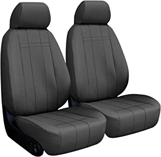 Front Seats: ShearComfort Custom Imitation Leather Seat Covers for Ford F250/F350/F450/F550 Extended Cab (2001-2007) in Charcoal for Buckets w/Seatbelt in Backrest and Adjustable Headrests and A.
