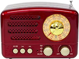 $321 » FTGB Bluetooth Portable Radio Portable BT Speaker Retro Radio Vintage Radio Support FM USB Small (Color : Red)