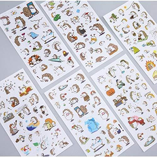 BLOUR 6 Hojas/Paquete de pequeños Animales Erizo japonés Pegatinas de papelería Decorativas...