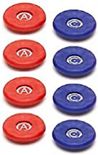 Replacement American Large Table Shuffleboard Puck Weight Top Caps-- Set of 8 caps - Red/Blue - Caps/Tops Only