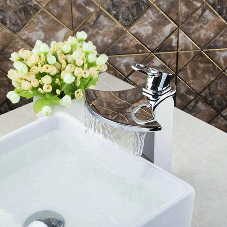 Kitchen Sink Taps Bathroom Sink Taps Bathroom Bath Basin Lavatory Plumbing Fixtures Sink Tap Mixer Faucet Tall Spout Solid Brass Widespread Waterfall