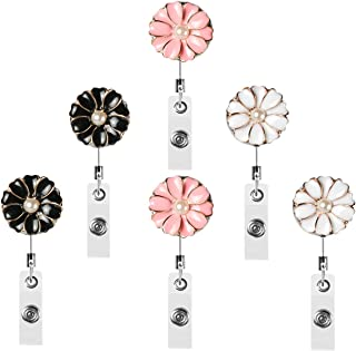 Fushing 6Pcs Retractable Badge Holder Reel Clip, 25 inch Stainless Steel Retractable Reel, Flower Petals ID Badge Reel for Name Badge Decoration (Multi-Color)