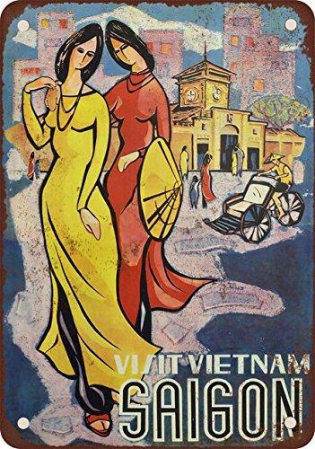 Besuchen Sie Vietnam Saigon Vintage Look Reproduktion Metall blechschild 20,3x 30,5cm