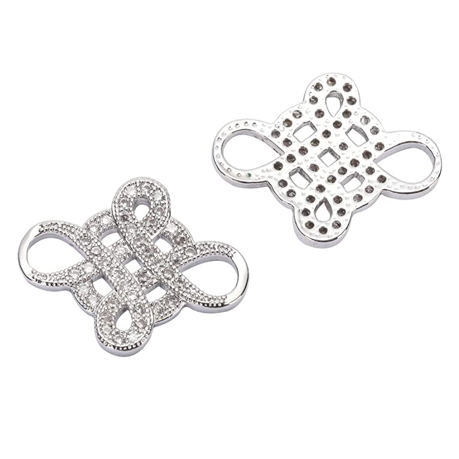 1pc Top Quality Silver Celtic Knot Charm Infinity Connector with Diamond Simulants MCAC29