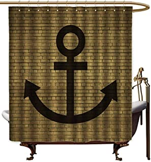Genhequnan Anchor Extra Long Shower Curtain Digital Anchor Icon Over Brick Wall Vintage Vessel Part Hook Up The Boat Theme Tropical Shower Curtain W78 x L70 Inch Tortilla Brown