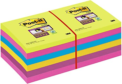 76 x 76 mm Post it Notes Super Sticky Notes Value Pack Pack Assorted Colours