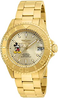 Men's Disney Limited Edition Automatic-self-Wind Watch with Stainless-Steel Strap, Gold, 9 (Model: 22779)