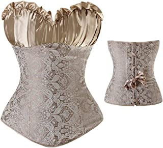 JIUZHOUTONG Gothic Retro Vintage Tapestry Steampunk Corset with Chain & Belt Halloween Costume Top