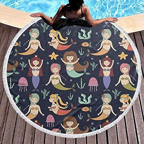 Nazi Mie Toon Mermaid Beach Towel - Alfombra Grande de Picnic con círculo Redondo de Terry Beach