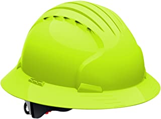Evolution Deluxe 6161 280-EV6161-10 Full Brim Hard Hat with HDPE Shell, 6-Point Polyester Suspension and Wheel Ratchet Adjustment (VENTED, Hi Viz Lime Green)