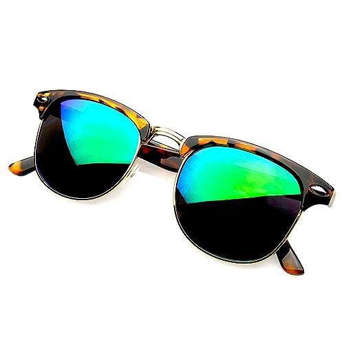af3d224ba0a Emblem Eyewear Retro Fashion Half Frame Flash Mirror Semi Rimless Horned  Rim Sunglasses