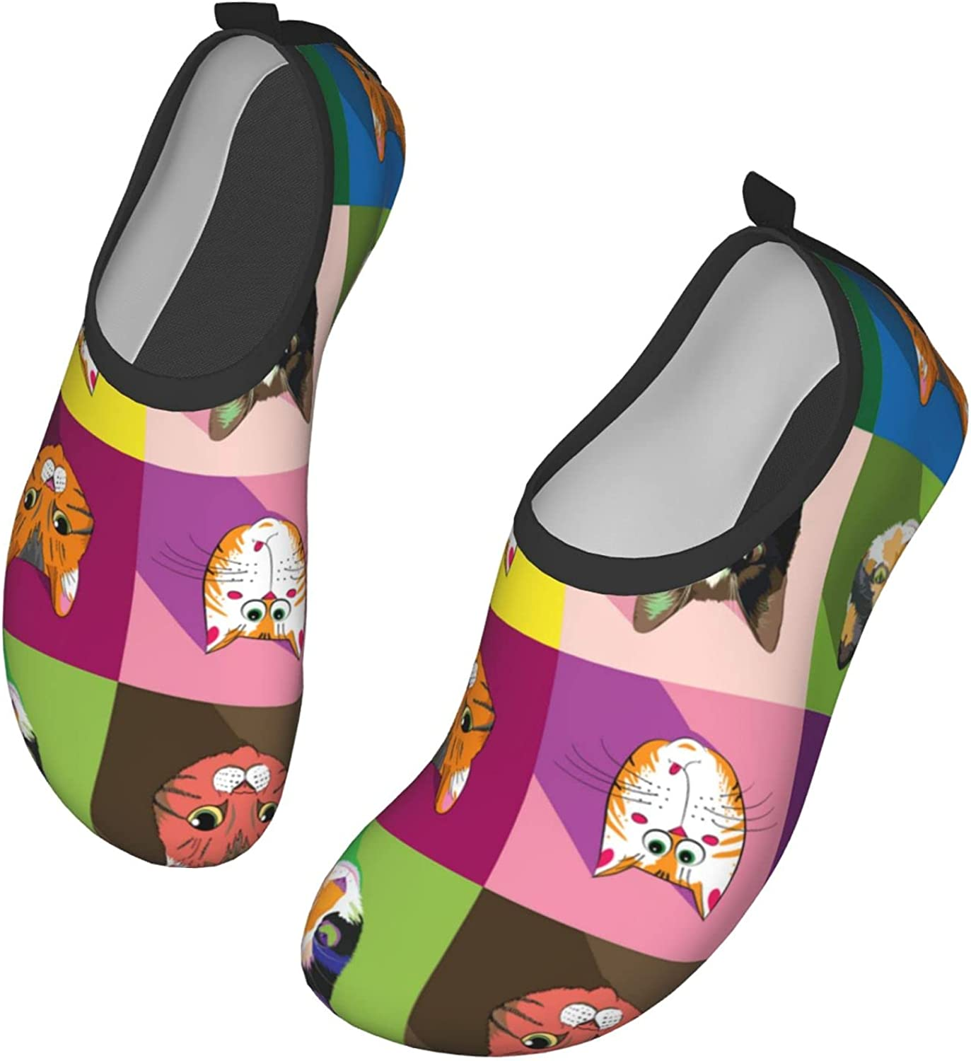 Print with Cat Faces On Colored Squares Water Shoes Women's Men's Outdoor Beach Swimming Aqua Socks Quick-Dry Barefoot Shoes Surfing Yoga Pool Exercise