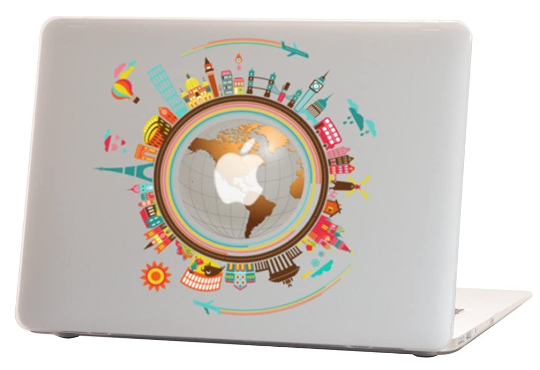 Macbook Air 13 inches Rubberized Hard Case for model A1369 & A1466, Around the World Design with Clear Bottom Case, Come with Keyboard Cover
