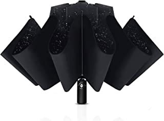 Inverted Umbrella Windproof with Leather Cover, 10 Ribs Automatic Umbrella Teflon Coating Reverse Umbrella Portable Rain&S...