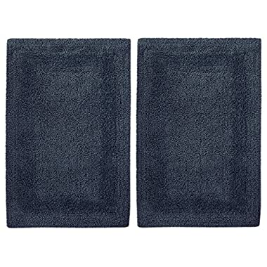 Cotton Craft 2 Piece Reversible Step Out Bath Mat Rug Set 17x24 Navy, 100% Pure Cotton, Super Soft, Plush & Absorbent, Hand Tufted Heavy Weight Construction, Full Reversible, Rug Pad Recommended