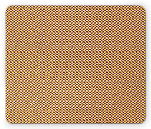 Mausmatte,Spiel Mauspad,Abstraktes Mauspad,Kreative Geometrische Rhombusquadrate,Die Dimensionseffekte Entwerfen,Mattenmaus-Mauspad-Gaming-Mauspads Für Büro & Heim,Lila Fuchsia Und Senf