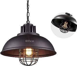 Lampa wisząca w stylu vintage, z kloszem w kształcie klatki, z regulowanym łańcuchem, do kawiarni, sklepu, kuchni, loftu, ...