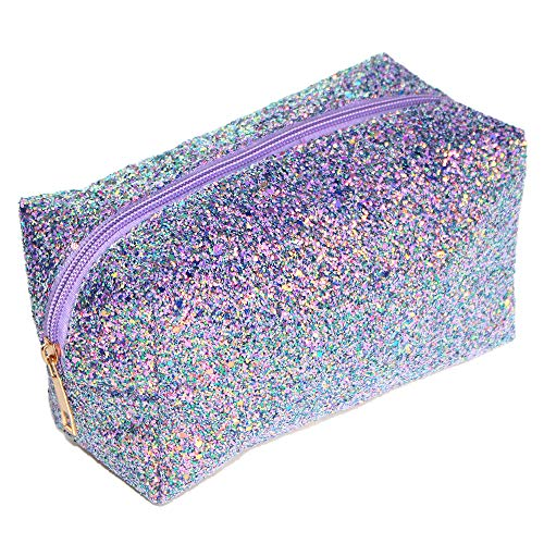 Colorful Glitter Shine Cosmetic Pouch Waterproof Zipper Handbag Carry Case Organizer Travel Case (purple)