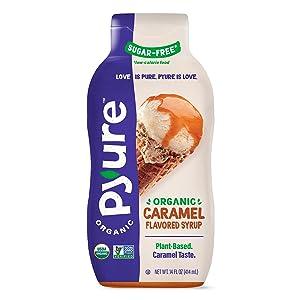 Organic Caramel Flavored Syrup By Pyure | Sugar-Free, Keto, 1 Net Carb | 14 Fl. Oz