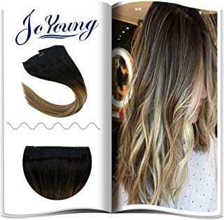 JoYoung Remy Ombre Halo Hair Piece Human Hair Balayage Color Darkest Brown to Medium Brown with Blonde 11inch Width 12inch Hidden Halo Clip on Hair Extensions Real Human Hair 80g 14inch