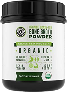 Organic Grass Fed Beef Bone Broth Protein Powder - 16oz, 20 Servings. Unflavored, Pure. Keto Friendly Protein Powder. Pale...