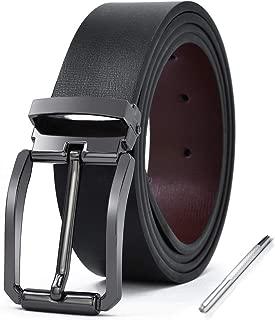 Cinturon Hombre Cuero Piel Hebillas Jeans Reversible Trabajo Traje Cinturones Clásico Negro Marron