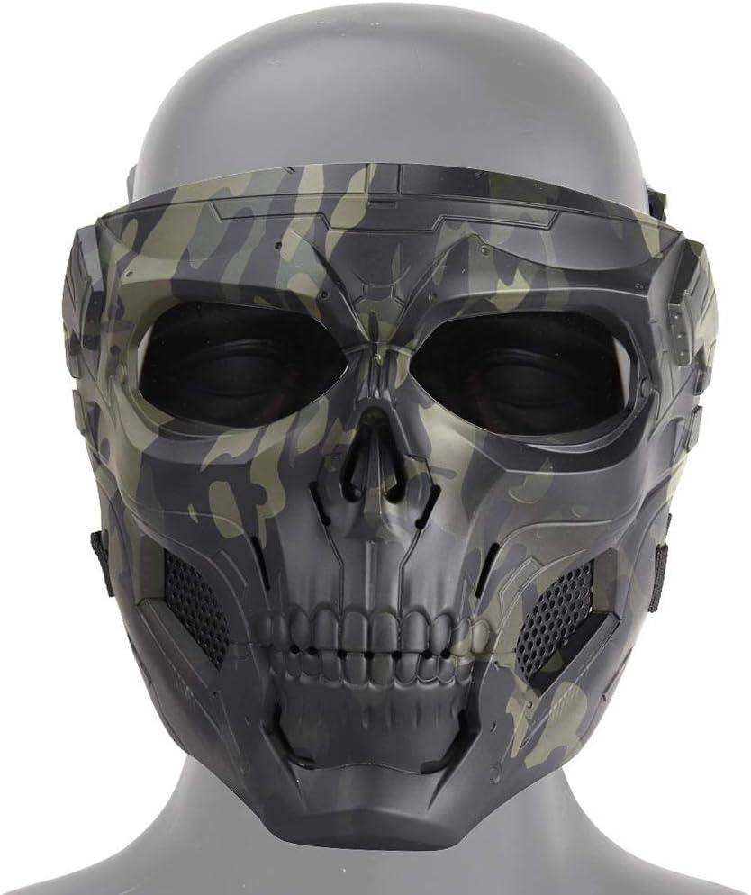 Tawcal Máscara Táctica de Airsoft del Cráneo, Máscara Protectora de la Cara Completa Paintball CS Hockey Halloween Masquerade Cosplay Máscara esquelética de Protección para los Ojos,Camuflaje Negro