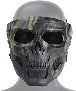 Tactical Skull Airsoft Mask, Full Face Protective Mask Paintball CS Hockey Halloween Masquerade Cosplay Eye Protection Skeleton Mask for Outdoor Activity Party Movie Props,Camouflage Black