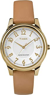 Timex Womens Analogue Classic Quartz Watch with Leather Strap