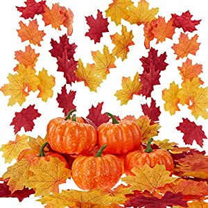 Boao Artificial Lifelike Simulation Mini Pumpkins Halloween House Decoration, 10 Pieces Mini Fake Pumpkins with 150 Pieces Lifelike Maple Leaves for Halloween Thanksgiving Autumn Ornaments