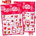 FUNNISM Valentines Day Bingo Game Cards,24-players Bingo Card Games for Adults, Family & Kids, Valentines Day School Classroom & Family Activities Crafts,Valentines Day Party Games Favors Supplies-Red
