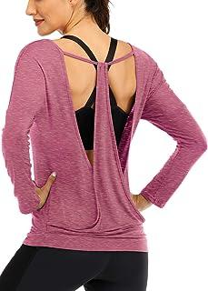 Fihapyli Women's Black Long Sleeve Backless Drape Cut Out Back Plain Loose T-Shirt V Neck Stretchy Loose Blouse