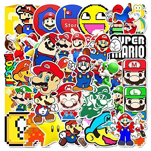 WEIGUANG Juego de Anime Super Marios Bros Mary Pegatinas Chico Juguetes Favoritos de los niños decoración Bonita para Pared Coche Maleta Nevera 56 Uds