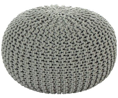 ANTARRIS Sitzpuff Sitzhocker Bodenkissen Ottonmane ver. Farben Ø 55 cm B 40cm Neues Modell: extra hoch Premium Baumwolle handgeknüpft (Hellgrau)
