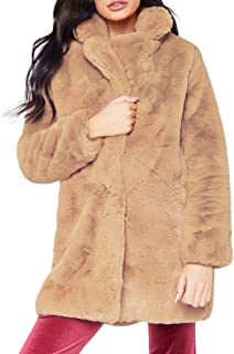 Pgojuni Woman Plush Faux Fur Winter Lady Womens Warm Long Coat Jacket Parka Outerwear Overcoat 1pc