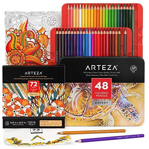 Arteza Set Disegni da Colorare per Adulti Immagini di Animali da Colorare con Matite Colorate, 1 Libri da Colorare per Adulti con 72 Disegni Unici e 72 Colori Pastelli, Libro Antistress da Colorare