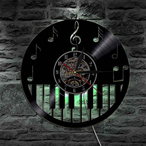 Piano Instrumento musical Disco de vinilo Reloj de pared con retroiluminación LED Notas musicales Partitura Cambio de color Relojes de luz modernos Regalos para el día de la madre Relojes de pared a
